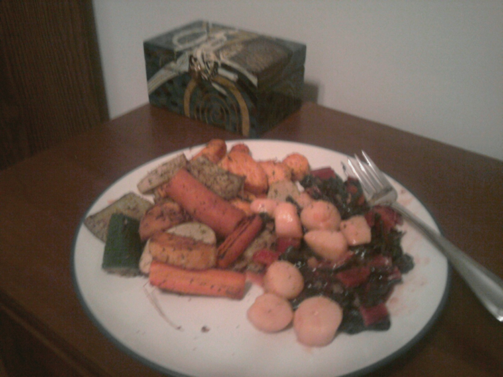 mms picture   Roasted Veggies and Sauteed Scallops with Swiss chard