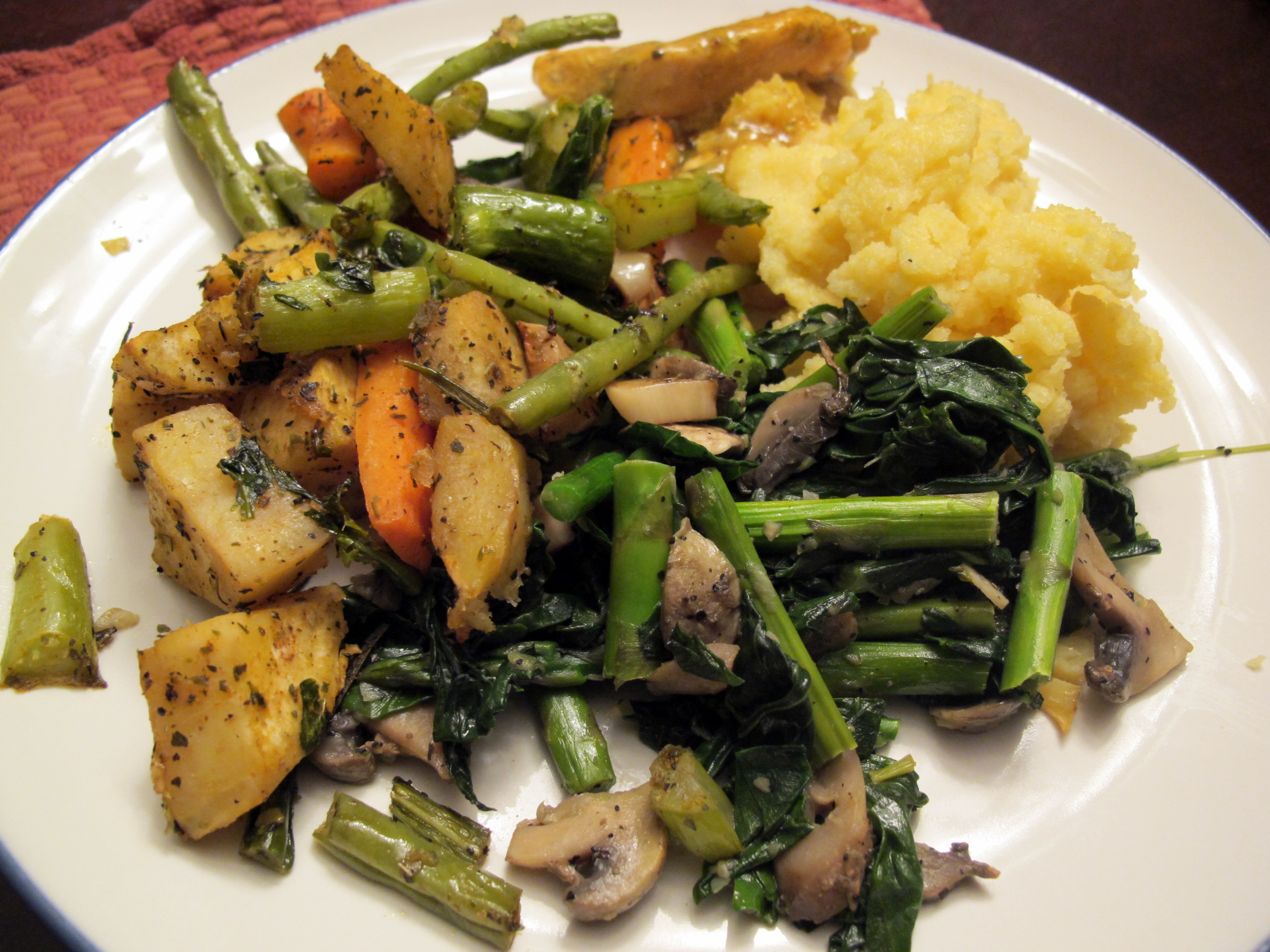 Polenta With Green Beans, Mushrooms, Peas, And Leeks Recipes ...