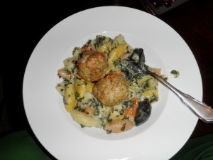 chops bobblehead etc 011 300x225   Spinach Mac and Cheese and Chicken Sausage meatballs