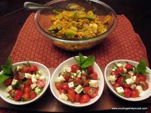 IMG 1328 300x225   Tomato, Feta and Mint (or basil) salad
