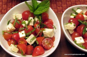 IMG 1328a 300x197   Tomato, Feta and Mint (or basil) salad