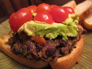 black bean burger on toast 300x225   Homemade 12 Bean Burgers and Better Black Bean & Mushroom Burgers
