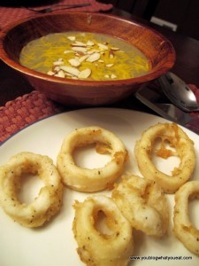 Calamari served with Broccoli white bean soup 225x300   Calamari with Cilantro Lime Sauce