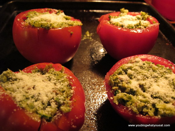 Roasted Pesto-Stuffed Tomatoes | you blog what you eat