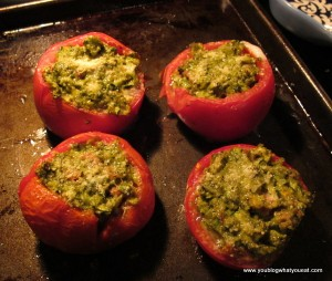 IMG 3164 300x254   Roasted Pesto Stuffed Tomatoes