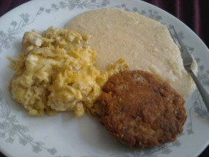 gtirseggssalmon 300x225   Southern Hospitality: Salmon Patties and Cheese Grits