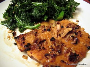 IMG 3314 300x225   Almond Encrusted Ginger Honey Soy Salmon